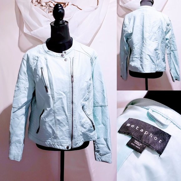 Metaphor Jackets & Blazers - Metaphor Mint Vegan leather Moto Jacket XXL🦄💋